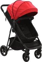vidaXL Kinderwagen/buggy 2-in-1 staal rood en zwart