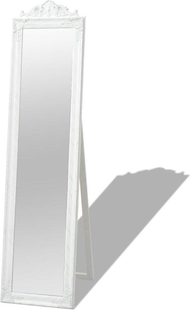 vidaXL Spiegel vrijstaand barok stijl 160x40 cm wit - vidaXL