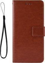 Mobigear Retro Texture Luxe Wallet Hoesje Bruin Motorola Moto One Vision
