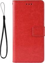 Mobigear Retro Texture Luxe Wallet Hoesje Rood Motorola Moto One Vision