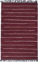 vidaXL Vloerkleed chindi handgeweven 160x230 cm katoen bordeauxrood