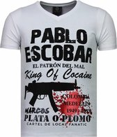 Local Fanatic Pablo Escobar Narcos - Rhinestone T-shirt - Wit - Maten: S