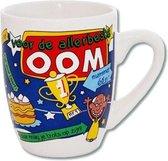 Mok - Cartoon Mok - Voor de allerbeste Oom - Gevuld met een snoepmix - In cadeauverpakking met gekleurd krullint