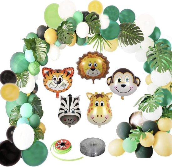 Luxe Ballonnen Boog Jungle Groen Blauw Geel Wit Zwart - 164 Stuks - Incl. Palmbladeren!
