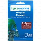 Lycamobile NL 4G Prepaid Simkaart met €15* beltegoed + 50MB | met Nederlands mobielnummer