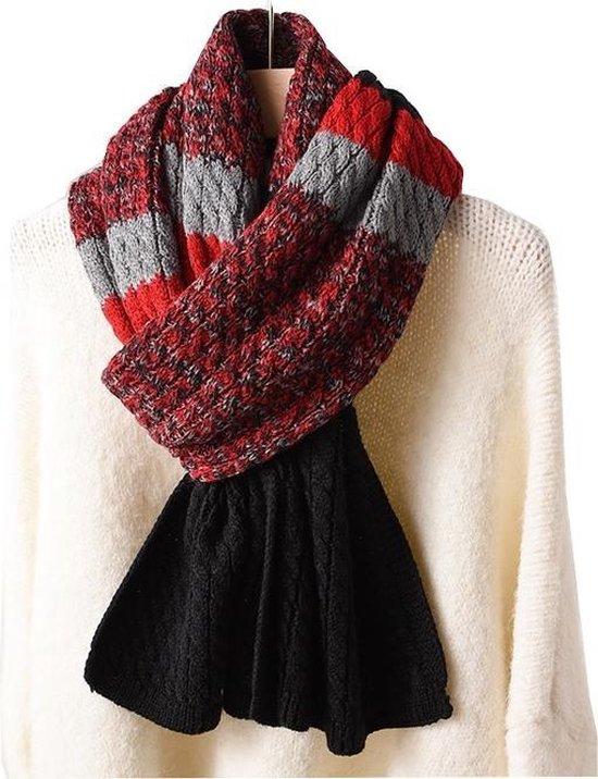 Gebreide Dames Sjaal – Wintersjaal – Black & Red