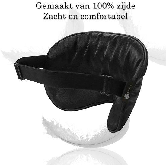 SIMIA™ Premium Zijden Slaapmasker + Opbergzakje - 100% Verduisterend Oogmasker - Verstelbaar - Blinddoek - Zijdezacht - Anti-Rimpel - Cadeau Tip - Zwart