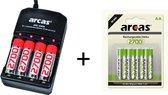 Arcas Batterij Oplader Geschikt voor AA / AAA + 8 ARCAS Rechargeable AA Batterijen 2700 mah