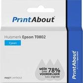 Huismerk Epson T0802 Inktcartridge Cyaan