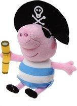 Nickelodeon Knuffel Peppa Pig Piraat Roze/blauw/wit 17 Cm