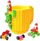 Lego Mok/ Build on Brick Mug - geel - 350 ml - bouw je eigen mok met bouwsteentjes - BPA vrije drinkbeker cadeau voor kinderen of volwassenen - koffie thee limonade of andere dranken - pennenbeker - creatief accessoire voor op bureau -HnD