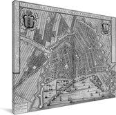 Historische zwart witte stadskaart van het Noord-Hollandse Amsterdam Canvas - Plattegrond 80x60 cm - Foto print op Canvas schilderij (Wanddecoratie woonkamer / slaapkamer)