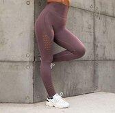 Yoga Broek - Pastelviolet - Naadloos - Hoge Taille - Legging - Fitness - Maat L
