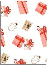 DesignClaud Kerstposter cadeautjes - Kerstdecoratie Kleurrijk A3 + Fotolijst zwart