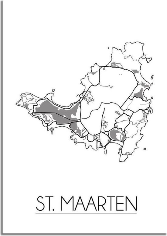 Plattegrond St. Maarten Landkaart poster DesignClaud - Wit Grijs - A2 + fotolijst zwart