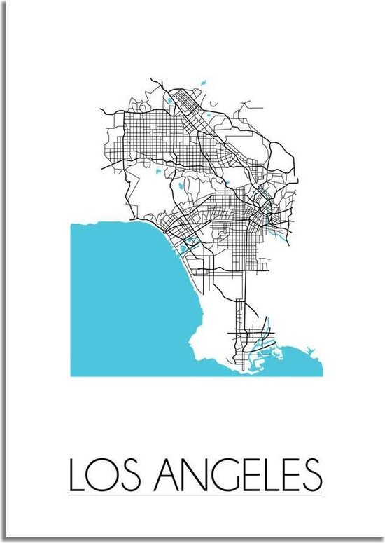 Plattegrond Los Angeles Stadskaart poster DesignClaud - Wit - A4 + fotolijst wit