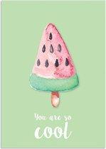 Poster You are so cool DesignClaud - Ijsje - Groen - A4 + Fotolijst zwart