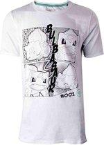 Pokémon Heren Tshirt -2XL- Manga Bulbasaur Wit