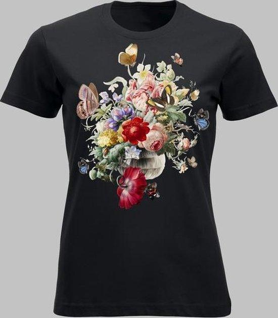 T-shirt V Bloemen en vlinders - Zwart - M