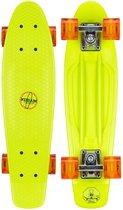 """Nijdam Plastic Skateboard 22.5"""" - LED wielen - Fluorgroen/Rood"""