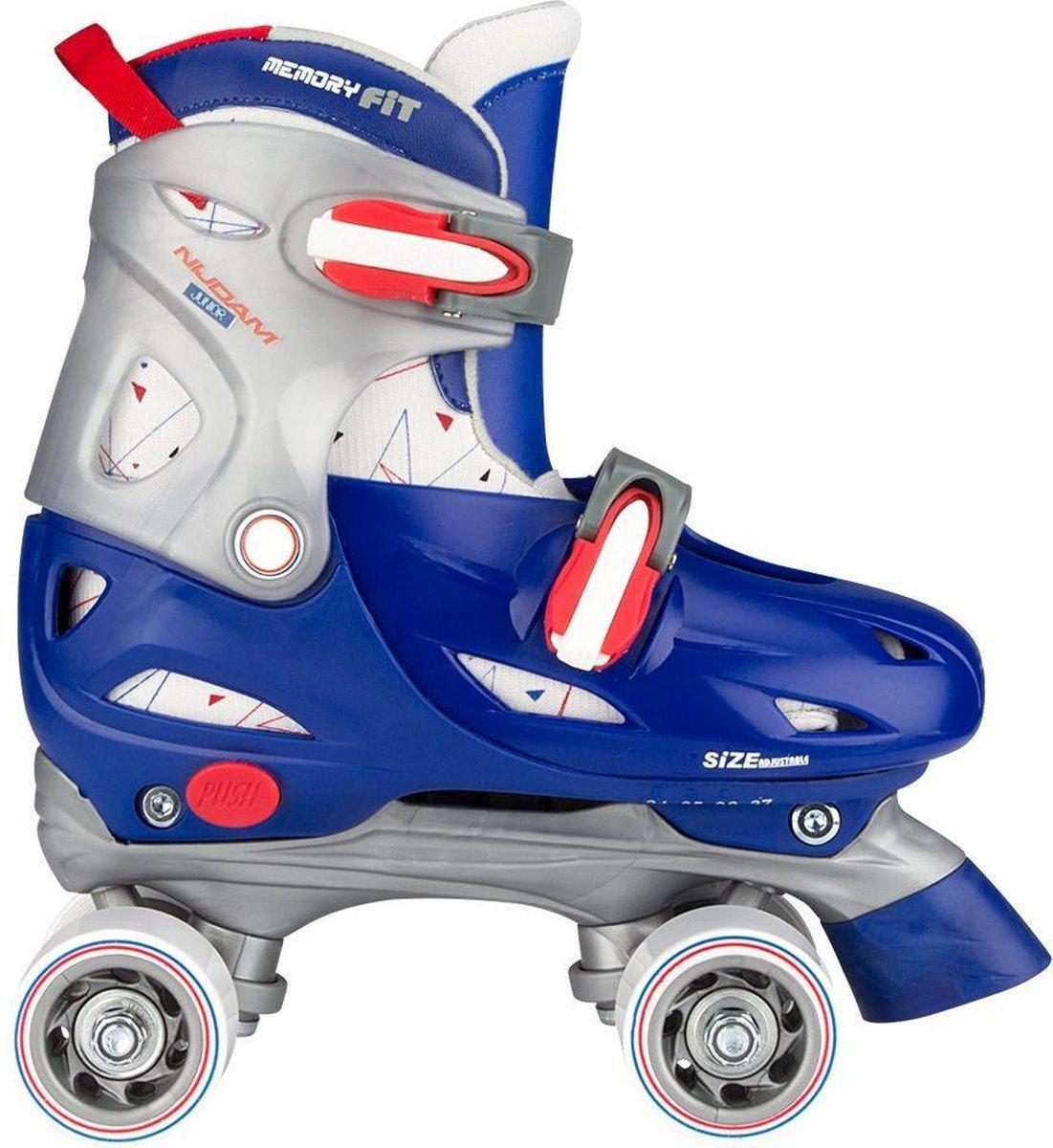Nijdam Rolschaatsen Junior Verstelbaar Hardboot - Roller Rage - Blauw/Rood/Zilver - 27-30