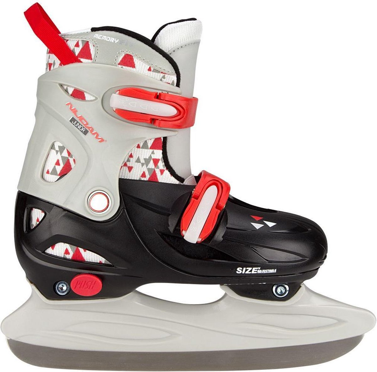 Nijdam IJshockeyschaats Junior Verstelbaar - Hardboot - Zwart/Grijs/Rood - 27-30