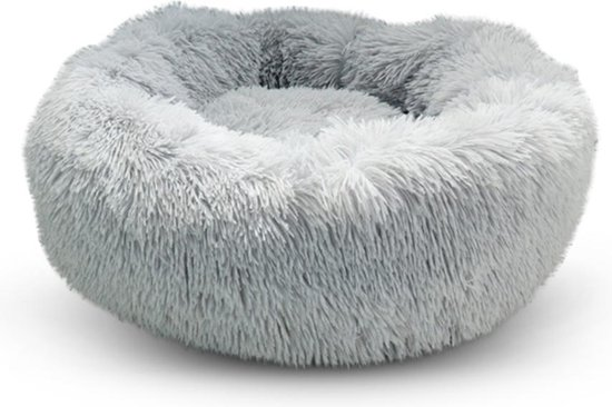 Snoozle Kattenmand - Superzacht en Luxe - Fluffy - Rond - Wasbaar - 60cm - Lichtgrijs
