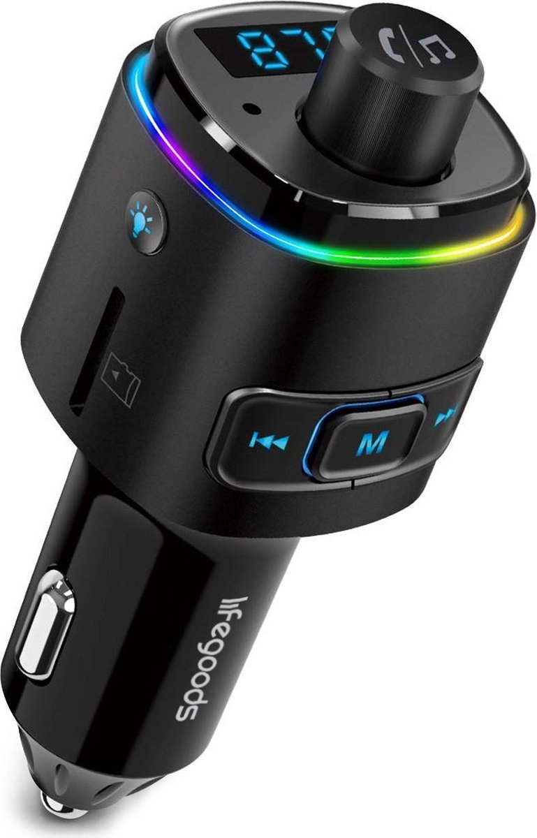 LifeGoods Bluetooth FM Transmitter Multicolor - Draadloze Carkit met Twee Fast Charge USB Poorten - Handsfree Bellen in Auto - Voice Navigatie - Muziek Streamen - SD card / TF card - Oplader - Smartphone/iPhone/iPod/Samsung - 7 LED-kleuren - Zwart
