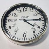 Leer klokkijken-leerzame klok- wandklok   Zilver/Wit 20 cm
