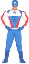 Captain America Kostuum | Zeer Brede Superster Held | Man | Maat 52-54 | Carnaval kostuum | Verkleedkleding