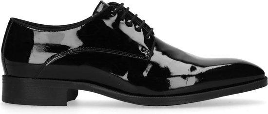 Manfield - Heren - Zwarte lak leren veterschoenen - Maat 45