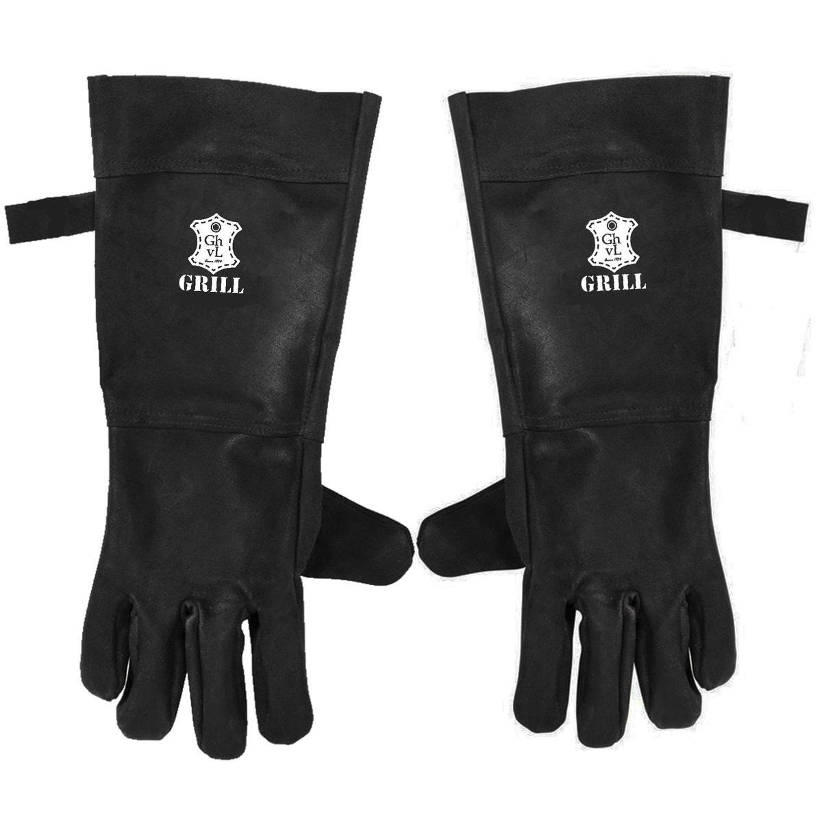 BBQ Leren Handschoenen Zwart   Barbecue Lederen Handschoen   BBQ & Oven handschoenen   Extra groot v