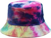 Bucket Hat   Tie-dye print   Zwart   2 in 1  Omkeerbaar   Vissershoed   Festival