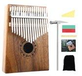 Kalimba – Duimpiano 17 Tonen - Muziekinstrument + Gratis Accessoires, Handleiding & Songbook - Mahoniehout