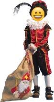 Piet Kostuum | Zwart-Rode Piet Kind / Tiener Kind Kostuum | Maat 116 | Sinterklaas | Verkleedkleding