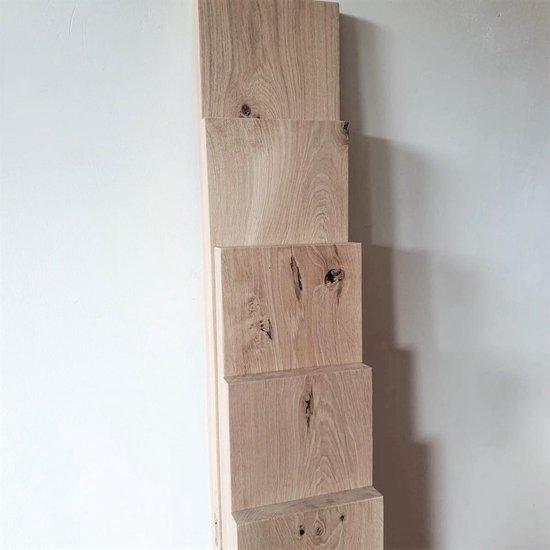 GoudmetHout Massief Eiken Wandplank - 80x20cm - Industriële Plankdragers - Staal - Mat Zwart