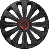 Wieldoppen 14 inch - Trend Zwart & Rood - 4 stuks