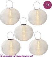 Lampion-Lampionnen Solar lampionnen wit 35 cm - 5 stuks