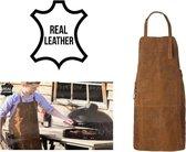Lederen BBQ - Hobby schort - Echt Leer - Real Leather - Barbecue - Lichtbruin