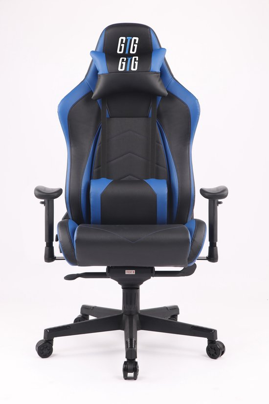 Gaming stoel GTG GT1 luxe en stevige stoel, zwart - blauw. Afmeting 74x70x130/138cm. E-sports