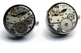 Manchetknopen - Open skeleton horloge Donker Metaal Rond