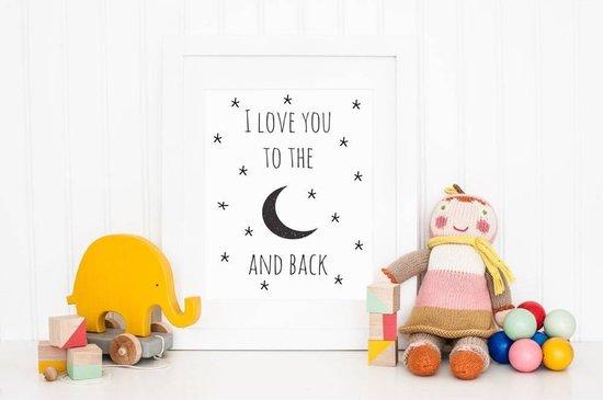 DesignClaud I love you to the moon and back - Kinderkamer Poster - Babykamer - Decoratie - Zwart Wit A3 poster zonder fotolijst