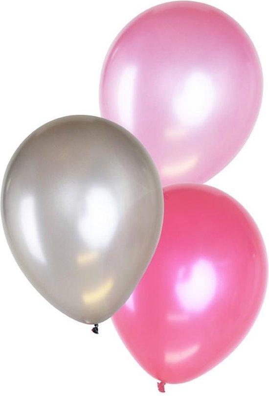 Ballonnen 14 inch per 6 metallic 2 x pink, 2 x licht roze , 2 x zilver