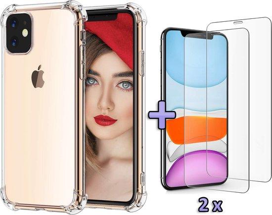 Apple iPhone 11 Hoesje Transparant - Anti Shock Hybrid Back Case & 2 X Glazen Screenprotectors