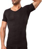 Anti Zweet Shirt - Fibershirts® - Ingenaaide Okselpads - Ondershirt - Zwart - V-hals - Heren - Maat L