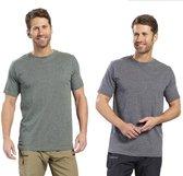 Heren T-shirt met ronde hals blauw gemêleerd maat XXL