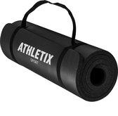Athletix® Premium NBR Fitnessmat - 183 x 61 x 1,5 cm - met Draagriem en Draagtas - Zwart