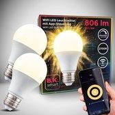 B.K.Licht - Slimme Lichtbron - smart lamp - set van 2 - met E27 - 9W LED - WiFi - App - 2.700K warm wit licht - 806 Lm - voice control - lampjes  - LED lamp