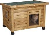 Rexa® Kattenhuisje van dennenhout 57x45x43cm   Kattenmand voor buiten of in huis   Beschermt kat tegen kou en geeft veilig gevoel   Makkelijke ingang   Hoogwaardig hout   Kattenbak   Katten huis