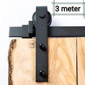Schuifdeursysteem Recht - 3 meter rail - 300cm - 3m (Barndoor, Schuifdeurbeslag, Railsysteem, schuifdeur systeem beslag, schuifsysteem)